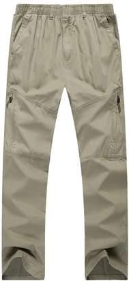 Insun Men's Elastic Waist Cotton Realxed Fit Work Straight Cargo Pants 3XL