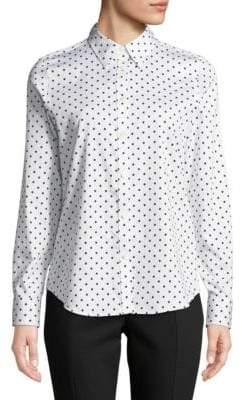 Chaps Polka Dot Long-Sleeve Cotton Button-Down Shirt