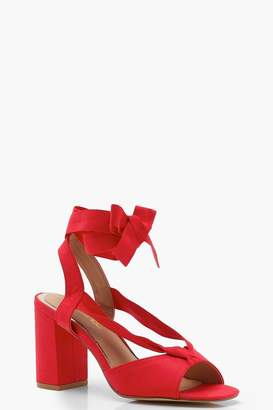 boohoo Wide Fit Peeptoe Wrap Heels