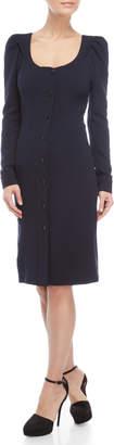 Derek Lam Navy Scoop Neck Puff Sleeve Button-Down Dress
