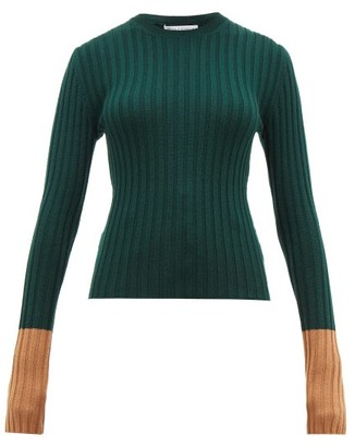 J.W.Anderson Contrast Cuffs Wool Sweater - Womens - Green