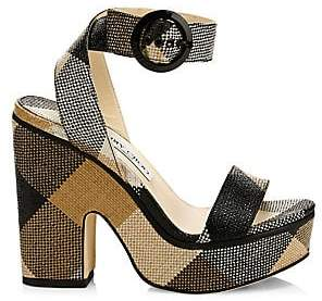 Jimmy Choo Women's Aimee Woven Check Platform Sandals