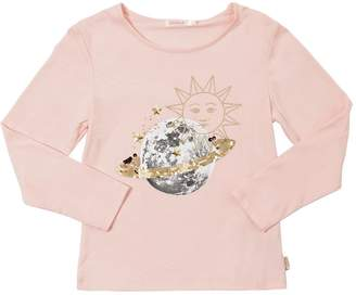 Billieblush Sun & Moon Print Cotton Jersey T-Shirt