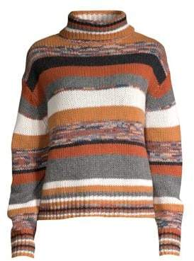 360 Cashmere Elenor Striped Crop Cashmere Turtleneck Sweater