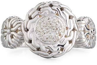 John Hardy Small Circle Contour Ring w/ Diamond Pave, Size 7