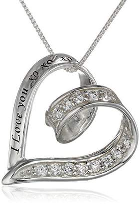 "XOXO Sterling Cubic Zirconia Ribbon Heart ""I Love You Pendant Necklace"