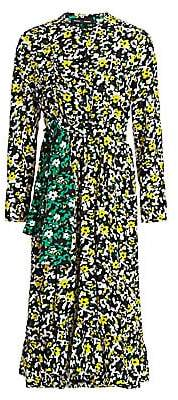 Proenza Schouler Women's Floral Printed Tie-Waist Midi Dress