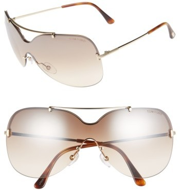 Women's Tom Ford Ondria Gradient Lens Shield Sunglasses - Shiny Rose Gold/ Brown