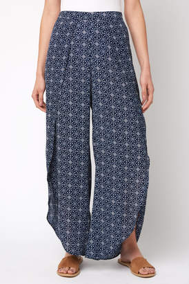 Juniper Blu Navy Printed Wrap Pants