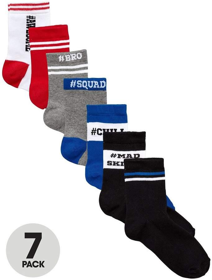 7 Pk Mad Skills Slogan Socks