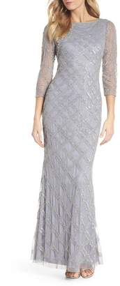 Adrianna Papell Crosshatch Beaded Gown