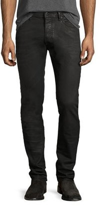 Diesel Thommer 0859X Coated Skinny Jeans, Black $198 thestylecure.com