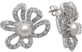 JCPenney FINE JEWELRY Cultured Freshwater Pearl and Crystal Floral Earrings