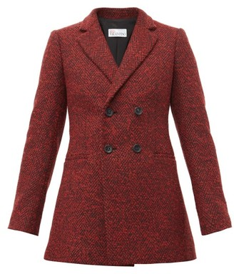 RED Valentino Double Breasted Herringbone Twill Blazer - Womens - Red