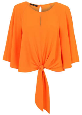 George Tie Front Flared Sleeve Blouse
