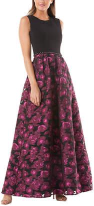 Carmen Marc Valvo Jewel Neck Crepe Bodice Gown