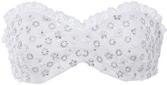 Michael Kors Crystal-Embroidered Eyelet Cotton Bandeau