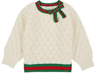 Gucci Kids' Bow-Detailed Textured-Knit Wool Sweater