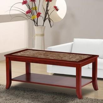 GranRest Marble Top Coffee Table, Light Brown & Brown