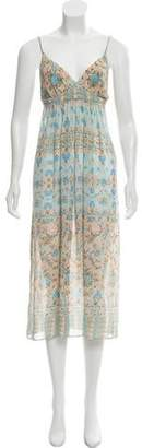 Oscar de la Renta Floral Print Sleeveless Nightgown