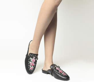 Office Facade Embroidered Flat Mules