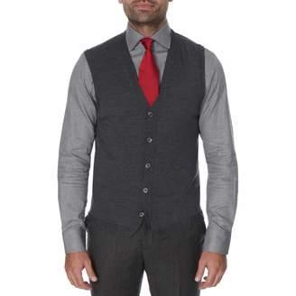Dark Grey Merino Wool Sleeveless Cardigan