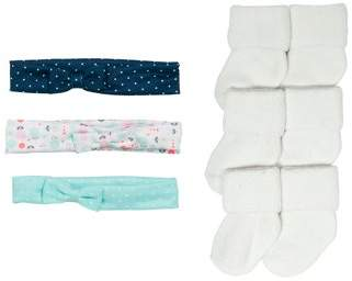Carter's Child of Mine by Accessory Set, Three Pack Headband and White Basic Socks (Newborn Girls & Baby Girls)