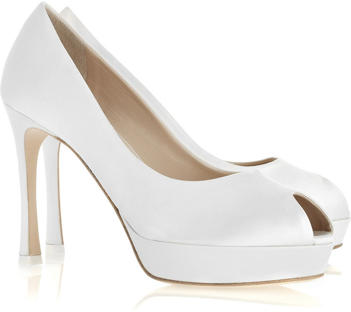 Yves Saint Laurent Palais satin peep-toe pumps