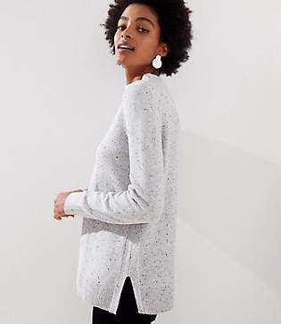 LOFT Petite Flecked Mock Neck Tunic Sweater
