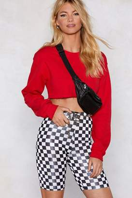 Nasty Gal Are You on Checkerboard Biker Shorts