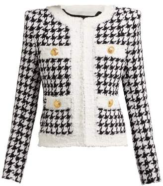Balmain Houndstooth Cotton Blend Tweed Jacket - Womens - Black White