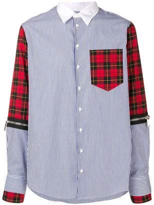 DSQUARED2 plaid striped panel shirt