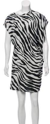 Black Crane Zebra Print Mini Dress