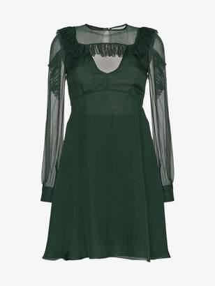 Rochas Ruffle Shoulder Chiffon Dress