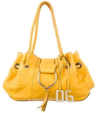 Dolce & Gabbana Grained Leather Drawstring Shoulder Bag