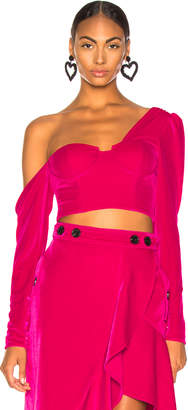 Self-Portrait Self Portrait Velvet Crop Top in Fuchsia | FWRD