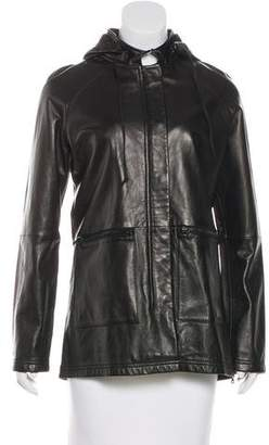 Kenneth Cole Leather Hooded Jacket