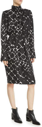 Marc Jacobs Mock-Neck Long-Sleeve Abstract-Print Silk Dress