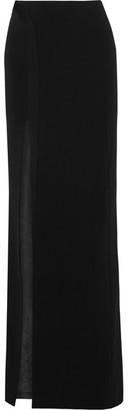 Mugler - Side-split Satin-trimmed Crepe Maxi Skirt - Black $2,240 thestylecure.com