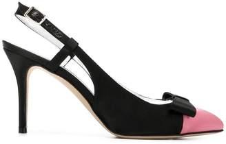 Alessandra Rich ribbon sling-back pumps