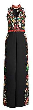 Alice + Olivia Women's Nilsa Floral Embroidered Wide-Leg Jumpsuit - Size 0