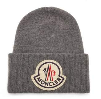 Moncler Logo Applique Wool Beanie Hat - Mens - Grey