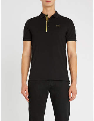 BOSS Metallic-trim cotton-blend polo shirt