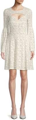 BCBGMAXAZRIA Women's Knit Lace Cut-Out Cocktail Dress