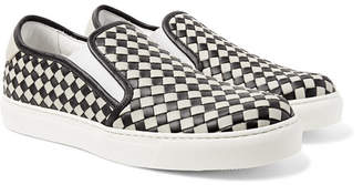 Bottega Veneta Dodger Two-Tone Intrecciato Leather Slip-On Sneakers - Gray