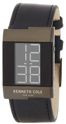 Kenneth Cole New York Men's LCD Leather Strap Watch, 28mm