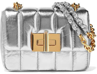 Tom Ford Natalia Large Metallic Quilted Leather Shoulder Bag - Silver