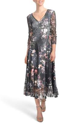 Komarov Floral A-Line Midi Dress