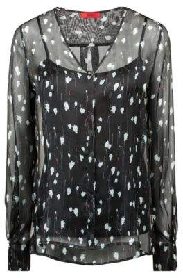 HUGO Boss Floral-print blouse in pure silk tonal camisole 2 Patterned