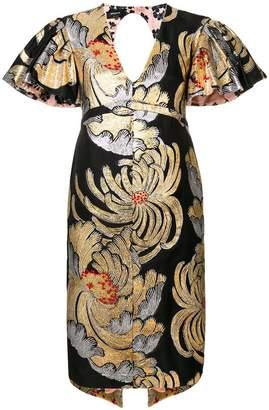 Rochas brocade frill sleeve dress